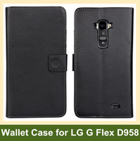 For LG Leather Black Wholesale Black Color PU Leather Wallet Flip Cover Case for LG G Flex D958 Free Shipping
