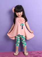 Wholesale 2014 Summer Candy Color Flowers Brooch Sleeveless Tank Printed Flower Pants Sparkling Children Girls Tank Clothing Sets I0022