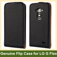 For LG Leather Black Wholesale Fashion Genuine Leather Flip Cover Case for LG G Flex D958 with Magnetic Snap Free Shipping