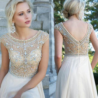 Wholesale 2014 Prom Dress Backless Champagne Short Sleeve Evening Dresses Gowns Celebrity Dresses Scoop A Line Beads Short Sleeve Prom Dress