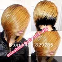 "Cheap Short BOB style wig 14"" two tone ombre virgin Chinese human hair silky stright #27 1 100% two tone lace front wig Free Shipping"