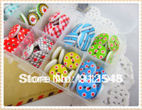 Wholesale mixed lovely small white polka dot rustic plaid handmade diy small wooden buttons craft sewing accessories