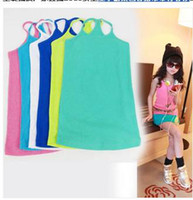 Girl Summer Cotton Blends New 2014 Summer Children's Girl Baby Candy-Colored Wild Sling Vest T-Shirt 3-8 old