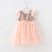 TuTu Summer Ball Gown Wholesales 2014 summer new Baby, Kids Clothing Children's girls princess vest sleeveless Sequins party princess lace tutu dress TJ-012
