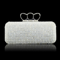 Wholesale Fashion Designer Silver Gold Wedding Bridal Hand Bags Ladies Handbags Crystal Rhinestone Ring Stain Metal Evening Clutch Bag Hard Box Purse