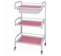 Wholesale Three Lines Beauty Salon Furniture Salon Trolley With A Drawer Pink Color