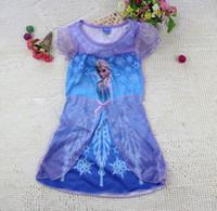 anime dress up girls - Anime Cartoon Frozen Elsa Dress For Girls dress up Anna Frozen princess short sleeve dresses For Frozen