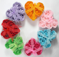 Wholesale 6pcs Box Roses Soap Wash Face Hand Soaps Bathe Flowers Valentine s Mother s Day Gift for Wife Girl Wedding Decoration Flower Three Layes