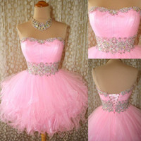 Wholesale Pink Tulle Mini Crystals Homecoming Dresses Beads Cocktail Party Short Prom Pageant Graduation Gowns Cheap Real Image Under