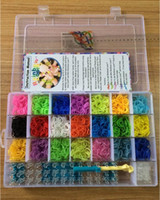 Girls 8-11 Years Mix Rainbow loom kit clear plastic box for Kids DIY bracelets -come with 4200ps rubber bands, 100 clips, 1 hook hot sale!