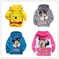 Wholesale Children T shirt Sweatshirts clothes boys girls long sleeved sweater hoodie Kids Pink Gray Blue yellow