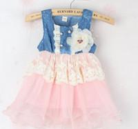 2014 la Llegada de Nuevos Niños Ropa Nueva Bebé de Verano de las Niñas de Jean Denim Vestidos de Falda de las niñas de la Moda de la Princesa de Encaje Vestido Mini SY