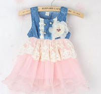 Wholesale 2014 New Arrival Children Clothing New Baby Girls Summer Denim Jean Skirt Dresses Fashion Girl Princess Lace Tutu Dress SY
