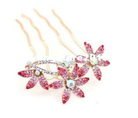 Hairpins Fashion Hairwear Free Shipping 1pc Crystal Women Lily Flower Rhinestone Hair Pin Clips Barrette Comb Hair accessories H067