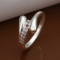 Wholesale 925 Silver Sparkly Purple Zircon Drop Water Ring Luxury Diamond Lady Wedding Ring Size