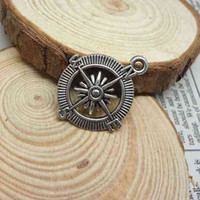 Wholesale 50Pcs mix colors Tibetan Silver Bronze Tone Compass Charms Pendants x29 mm used for bracelets
