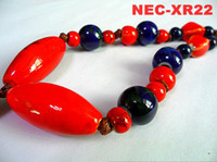 Wholesale Costume jewelry ceramic beads pendants glitter red ceramic beaded necklace fashion jewelry accessories mix order NEC XR22