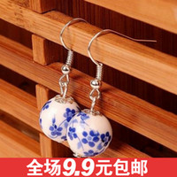 Hoop & Huggie Jimei Alloy / Silver / Gold 0135 Chinese style handmade ceramic jewelry national wind porcelain beads stud earrings bridal earrings transit