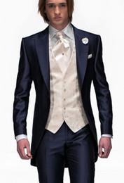 Discount Blue Silk Suit Men Tuxedos | 2017 Blue Silk Suit Men