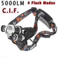 al por mayor jr iluminado-2015 de bajo costo de 5000LM JR-3000 3X CREE XML T6 LED Headlamp faro 4 cabeza de modo de la lámpara + cargador de la CA para la bicicleta de bicicleta luz al aire libre deporte