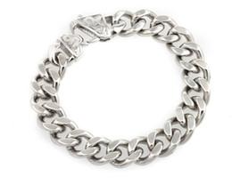 """8.65"""" Men's Curb Cuban Heavy Chain Bracelet 15mm Stainless Steel Link Bracelet"""