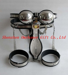 Wholesale New Stainless Steel Bra T Model Fully Adjustable amp Lockable Female Chastity Devices Belt with Ankle Restraint Anklecuff Bondage