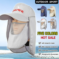 Wholesale Fishing Hat Outdoor Sun Cap New With Special Anti wind UV Cape Mask Front Back Hooded Hot Sale MZ01