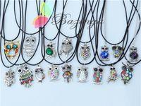 Pendant Necklaces animal jewelry - Vintage Owl Necklaces Mixed Rhinestone Gemstone Owl Pendant Necklaces Leather Chain Cute Animal Jewelry Personalized Jewelry XL706