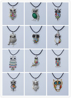 Wholesale New Arrival Vintage Owl Necklaces Mixed Rhinestone Owl Pendant Necklaces Leather Chain Cute Animal Jewelry Personalized Jewelry XL706
