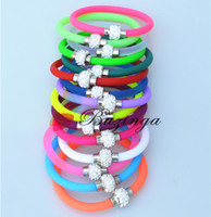 Wholesale Hot Sale Fluorescence Color Shamballa Bead Charm Bracelets Magnetic Clasp Rubber Bangles Wristbands Personalized Jewelry Multicolor SZ265