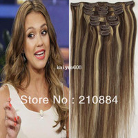 "70G/80g Yes Clip-In Wholesale - 15"" 18"" 20"" 22"" 7PCS Brazilian Human Hair Extension Clip in Virgin Hair Color #4 613 Blonde 70g 80g Set Free Shipping"