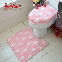 Synthetic Hair Overcoat Toilet Case Three-piece Set Pink polka dot thick toilet set piece set toilet set toilet seats toilet cover set pad