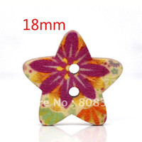 Buttons Yes Multicolor Free Shipping 100 Pcs Star Shape 2 Holes Wood Sewing Buttons 18x17mm Knopf Boutons(W01432 X 1)