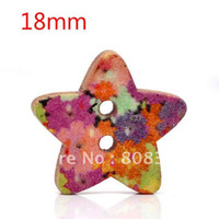 Buttons Yes Multicolor Free Shipping 100 Pcs Star Shape 2 Holes Wood Sewing Buttons 18x17mm Knopf Boutons(W01430 X 1)