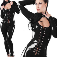 Wholesale lingerie Hot Fashion Black Latex Cutout Latex Flexible Sexy Catsuit Rubber Leather Long Sleeves Leotard Women Body Suits Jumpsuits10312