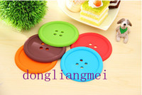 Wholesale 200pc Candy Color Button Design Cup Mat Coaster Silicone Double sided Non slip Coaster Insulation Pad Mats Bowl Disc Placemats free ship A23