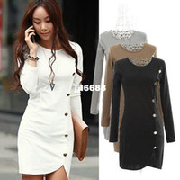 Wholesale New Arrival Spring Sexy Women Cotton Dresses Long Sleeve Package Hip Slim Button Decorative Dresses
