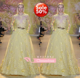 Wholesale Fall New Arrival Prom Dresses Evening Gowns With Ball Gown Long Sleeves Lace Beads See Through Lace NO Belt
