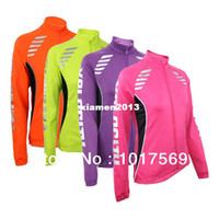 Wholesale High Quality ARSUXEO Thermal Fleece Women Cycling Jerseys Long Sleeve Running Fitness Bicycle Jacket Ciclismo Clothing Set