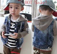 Wholesale 2014 Fashion Summer Boys Denim Outwear Splicing Match Cotton Pattern Long Sleeve Jacket Kids Clothes CowBoy Hat Coat Boy s Cardigan C1093