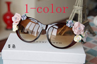 Wholesale 2014 latest Female designer sunglasses Summer Wind Beach rose roses soft handmade ceramic flower sunglasses