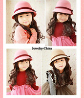 Girl Summer Fedora 2014 hot-selling small children woolen hat bowler hat baby hat hat bucket hats Korean female free shipping
