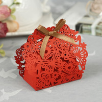 Red red heart candy - 100pcs Red wedding candy box elegant butterfly and love heart cut out with ribbon knot shipping free