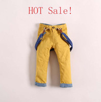 Wholesale Spring Children s Suspender Trouser Baby Boy s Trousers Khaki Yellow Red Colors Kids Boys Pants Liesure Children s Shorts C1142