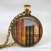 photo book - photo glass cabochon Vintage books pendant necklace Book lover pendant Books jewelry librarian gift