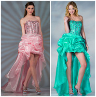 Cheap 2015 Hi-Lo Strapless Sequins Beads Crystal Bodice and Little Ball Sparkle Organza Skirt Sweet Short Prom Dresses Teen Formal Party Gowns wj