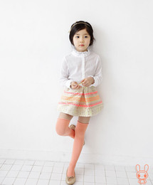 Wholesale Summer Children Girls Lace White Long Sleeve Shirt Stripe Pleated Skirt Sets Kids Flounces Top Shirt Skirt Outfit Child Sets H0040