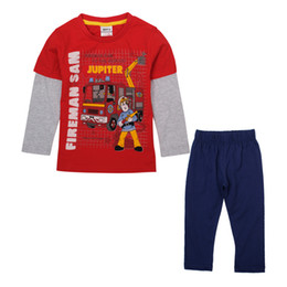 Wholesale NOVA Winter children cartoon pajamas fireman sam print Baby boys sets long sleeve pajamas