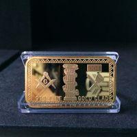achat en gros de lingots gros-Prix d'usine! Livraison gratuite 2014 Nouveau lingots de loterie maçonniques Bars Gold Plated Souvenir Gift Articles en gros de maçonnerie