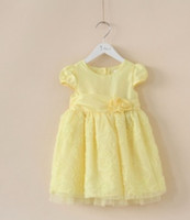 Wholesale New Arrival Baby Girls Clothing Pretty Layer Lace Wear Vintage Princess Dresses Child Pure Color Buttonfly Cap Sleeve Tutu Dress I0027